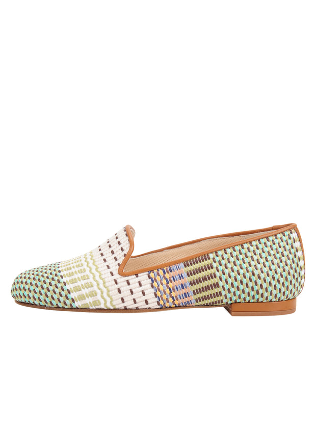 Womens Arias Green Raffia Flat 6