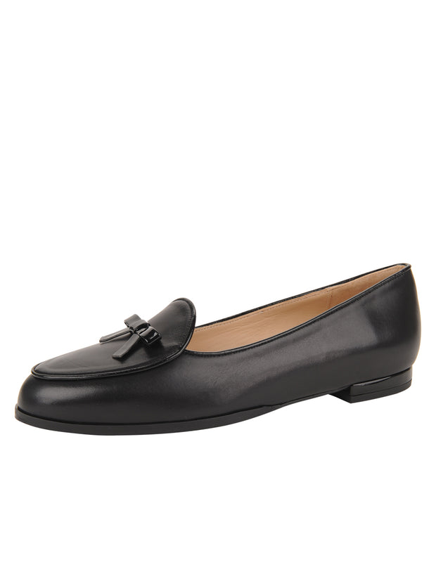 Womens BLACK CALF/BLACK PATENT BELGICA LOAFER