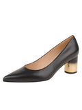 Womens BLACK LEATHER/GOLD CINDY LOW HEEL PUMP