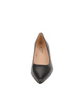 Womens BLACK LEATHER/GOLD CINDY LOW HEEL PUMP 4