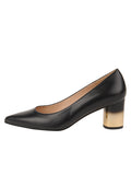 Womens BLACK LEATHER/GOLD CINDY LOW HEEL PUMP 6