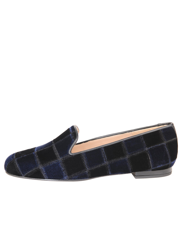 Womens BLACK/NAVY VELVET GATSBY PATCHWORK FLAT 6