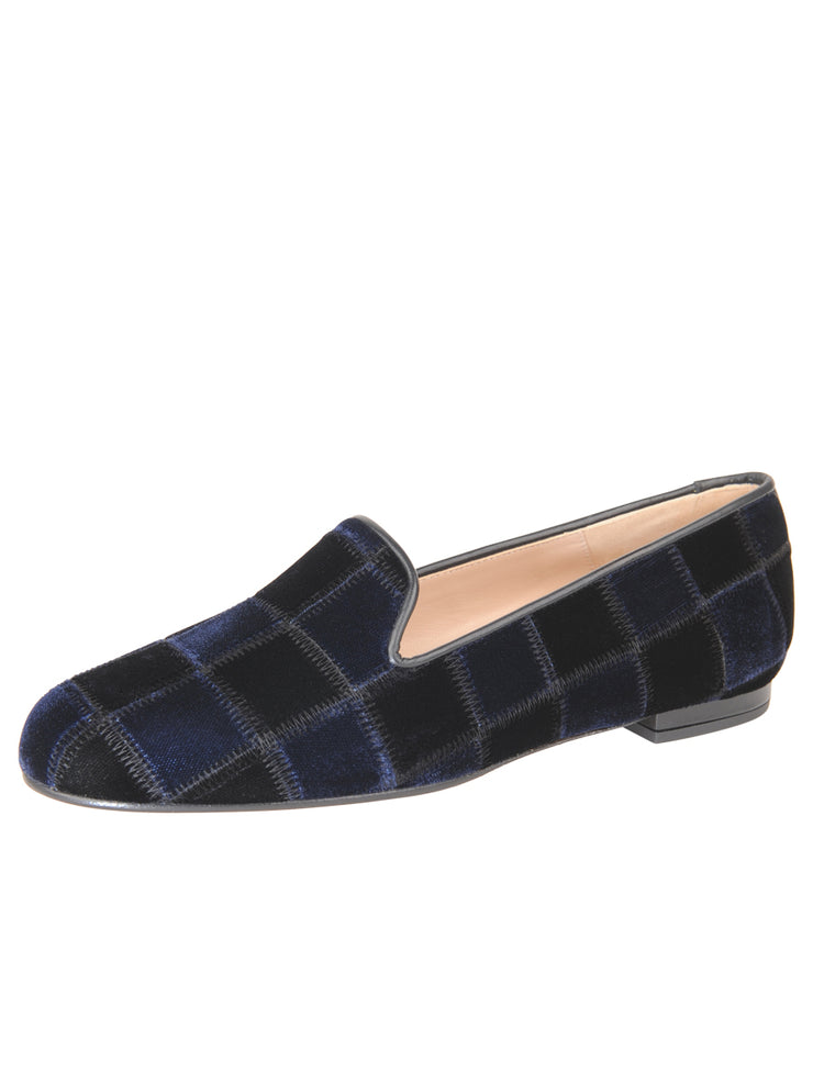 Womens BLACK/NAVY VELVET GATSBY PATCHWORK FLAT