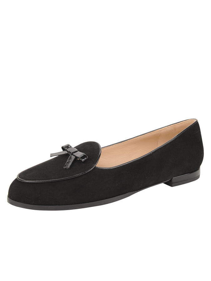Womens BLACK SUEDE/BLACK PATENT BELGICA LOAFER