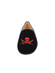 Womens BLACK VELVET/RED Skull 4