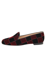Womens BLACK/ WINE VELVET GATSBY PATCHWORK FLAT 6