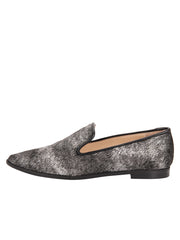 Womens Black-Pewter Pony Loafer 6