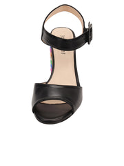 Womens Black Combo W-Multi Rainbow Block Heel Sandal 5