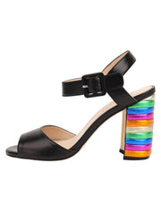 Womens Black Combo W-Multi Rainbow Block Heel Sandal 6