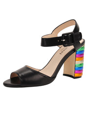Womens Black Combo W-Multi Rainbow Block Heel Sandal
