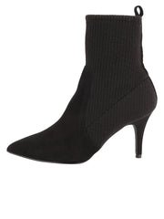 Womens Black Combo High Heel Bootie 6