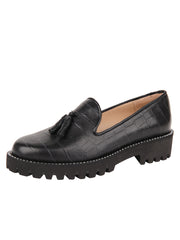 Womens Black Croc Leather Lug Shoe