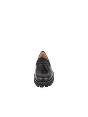 Womens Black Croc Leather Lug Shoe 4