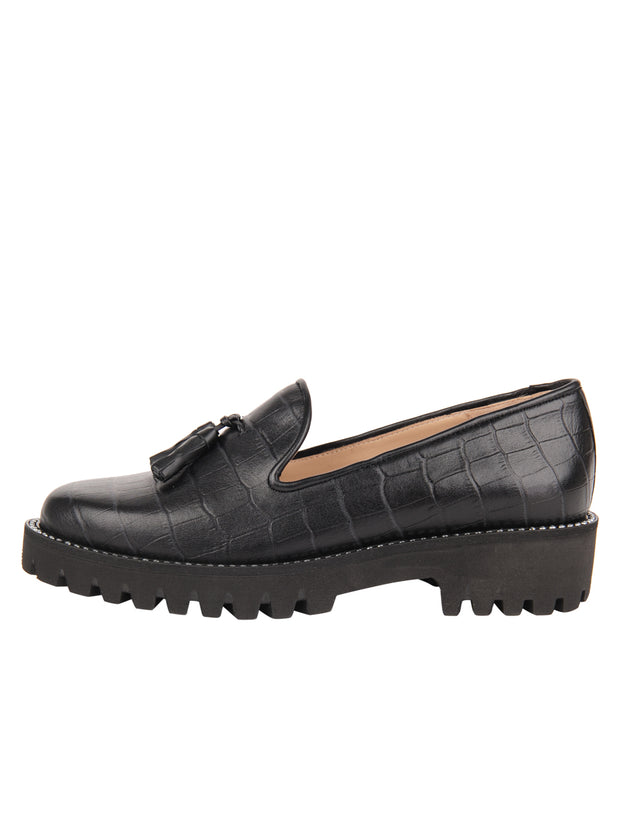 Womens Black Croc Leather Lug Shoe 6