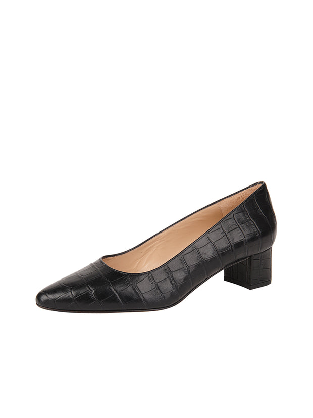 Womens Black Croc Leather BOSTON Low Block Heel