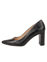 Womens Black Croc Leather JASMINE Block Heel Pump 6