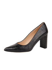 Womens Black Croc Leather JASMINE Block Heel Pump
