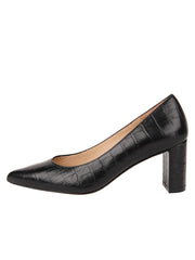 Womens Black Croc Chana Mid Heel Block Pump 6