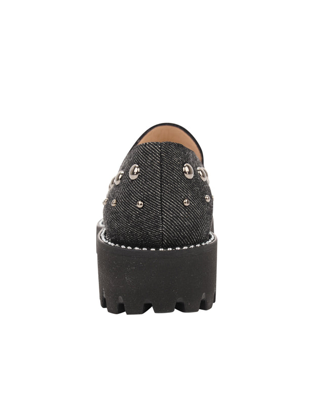 Womens Black Denim/Pewter Studs Studded Lug Loafer 2