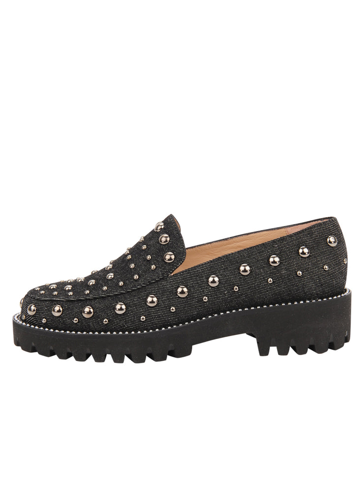 Womens Black Denim/Pewter Studs Studded Lug Loafer 6