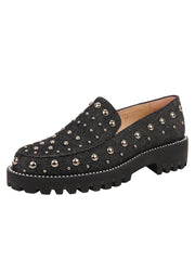 Womens Black Denim/Pewter Studs Studded Lug Loafer