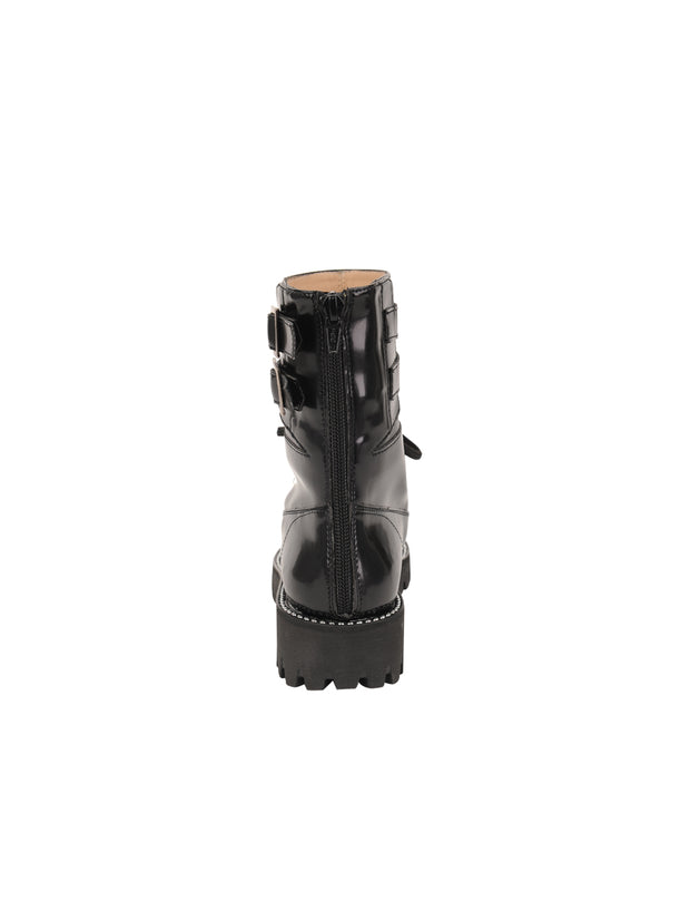 Womens Black Florentic GWENDELYN MOTO BUCKLE BOOT 2