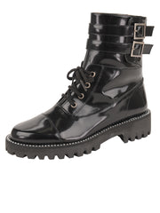 Womens Black Florentic GWENDELYN MOTO BUCKLE BOOT