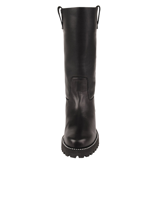 Womens Black Leather/Black Lining GINA MOTO BOOT 4