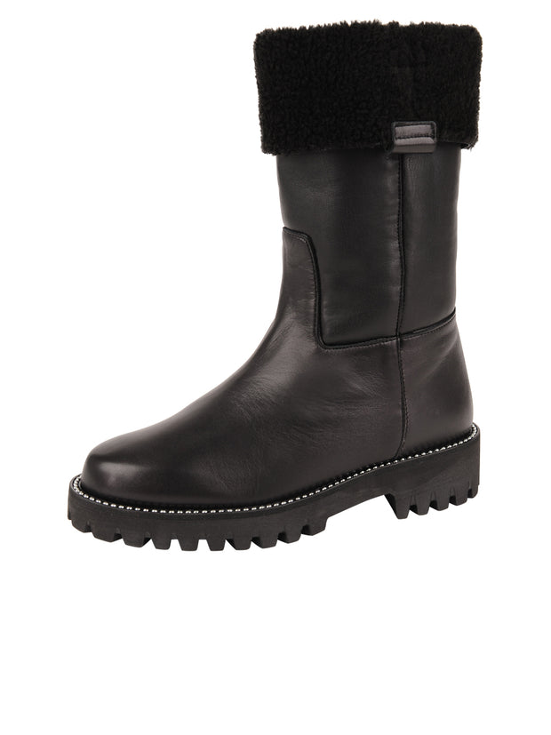 Womens Black Leather/Black Lining GINA MOTO BOOT