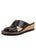 Womens Black Leather Combo Faye Wedge Sandal