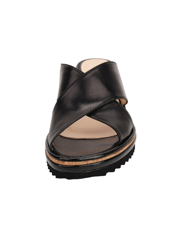 Womens Black Leather Combo Faye Wedge Sandal 5