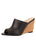 Womens Black Leather Combo Style Wedge Sandal