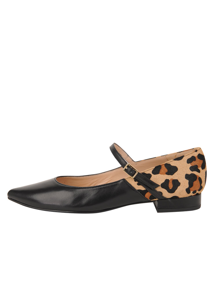 Womens Black Leather/Leopard MARA POINTED TOE MARY JANE 6