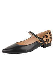 Womens Black Leather/Leopard MARA POINTED TOE MARY JANE