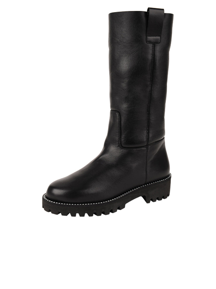 Womens Black Leather/White Lining GINA MOTO BOOT 2