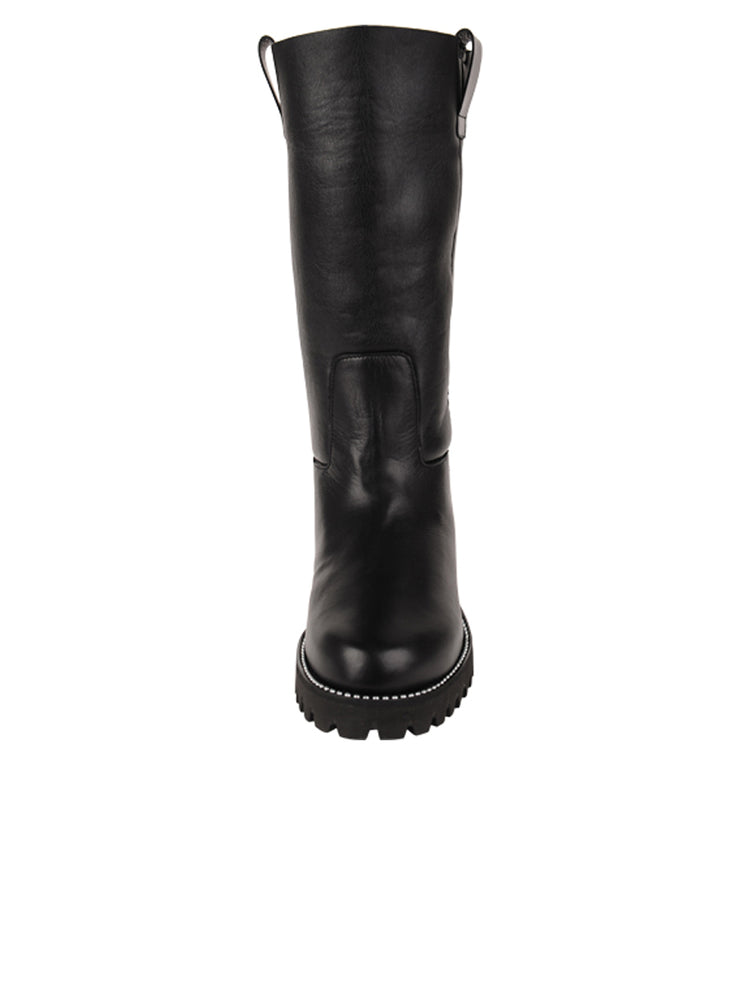 Womens Black Leather/White Lining GINA MOTO BOOT 4