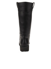 Womens Black Leather/White Lining GINA MOTO BOOT 6