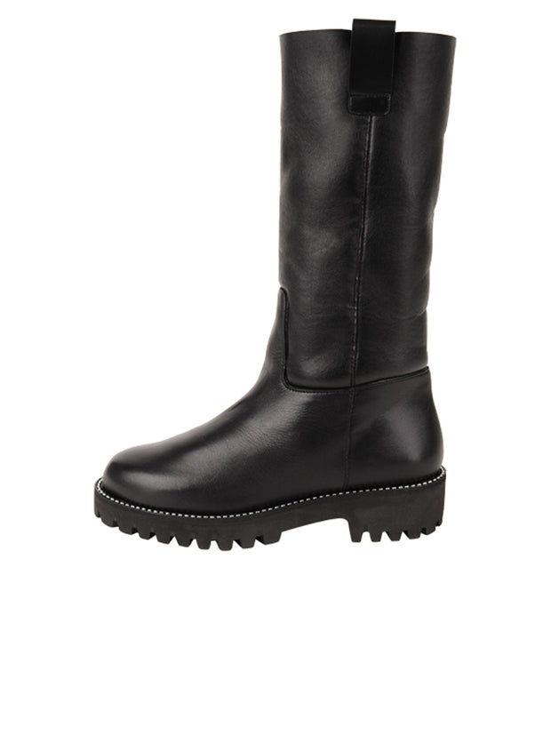 Womens Black Leather/White Lining GINA MOTO BOOT 7