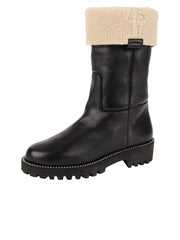 Womens Black Leather/White Lining GINA MOTO BOOT