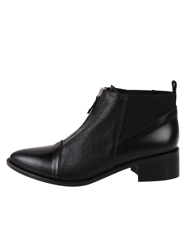 pointed toe bootie with with zipper in the middle  7