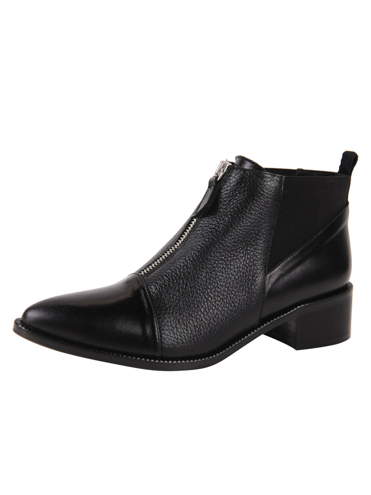 pointed toe bootie with with zipper in the middle