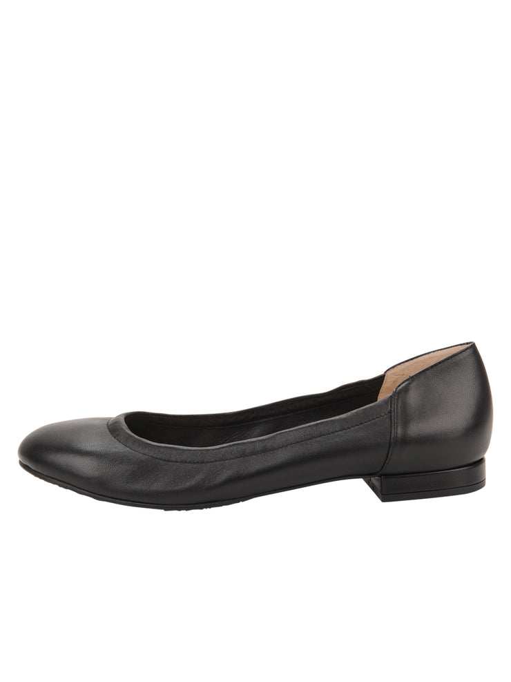 Womens Black Leather Maya Rock And Roll Flat 6