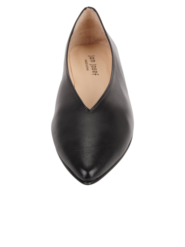 Womens Black Leather Pointed Toe Flat 4