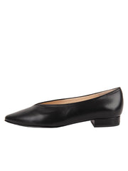 Womens Black Leather Pointed Toe Flat 6