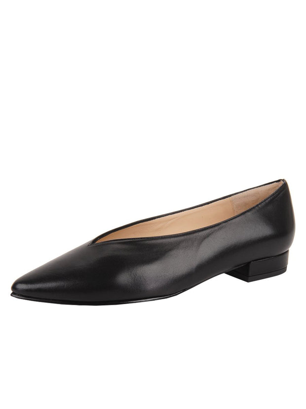 Womens Black Leather Pointed Toe Flat