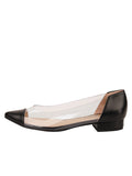 Womens Black Leather Rule Pointed Toe Vinyl Flat 6