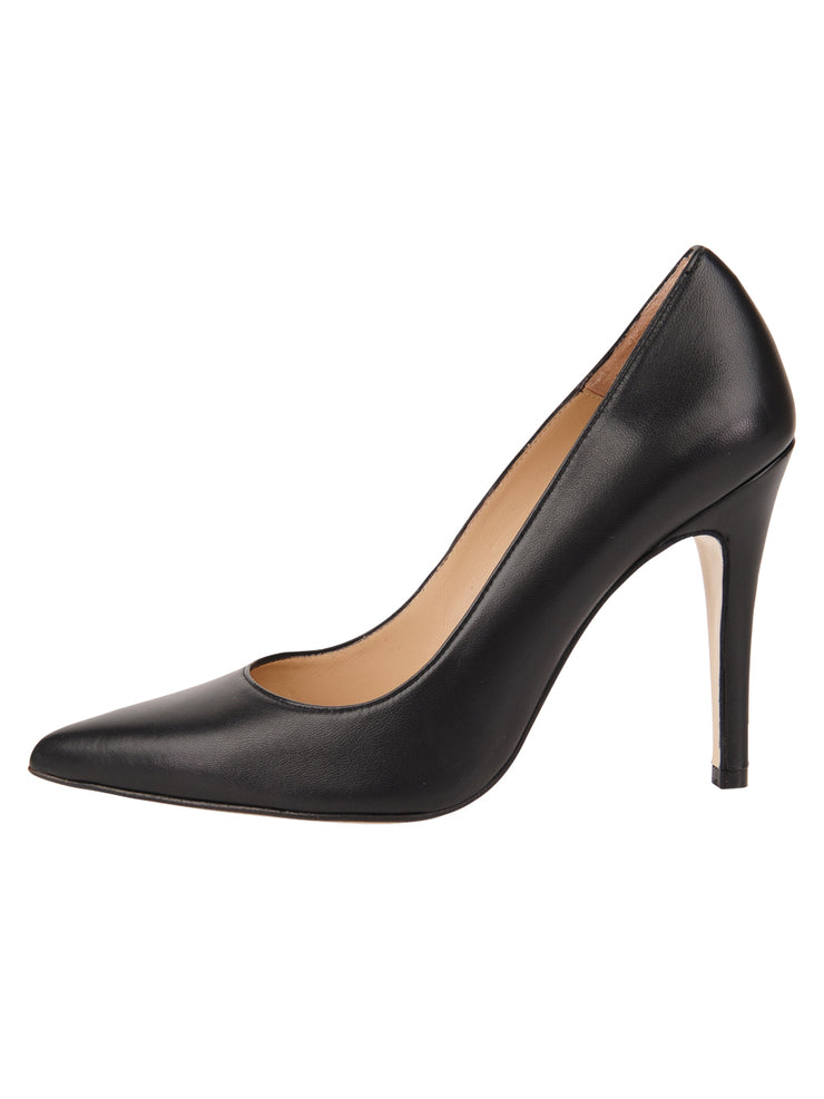 Womens Black Leather Ana Pointed Toe Stiletto 6
