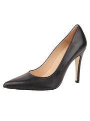 Womens Black Leather Ana Pointed Toe Stiletto
