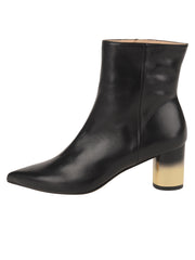 Womens Black Leather CIUDAD POINTED TOE BOOTIE 6