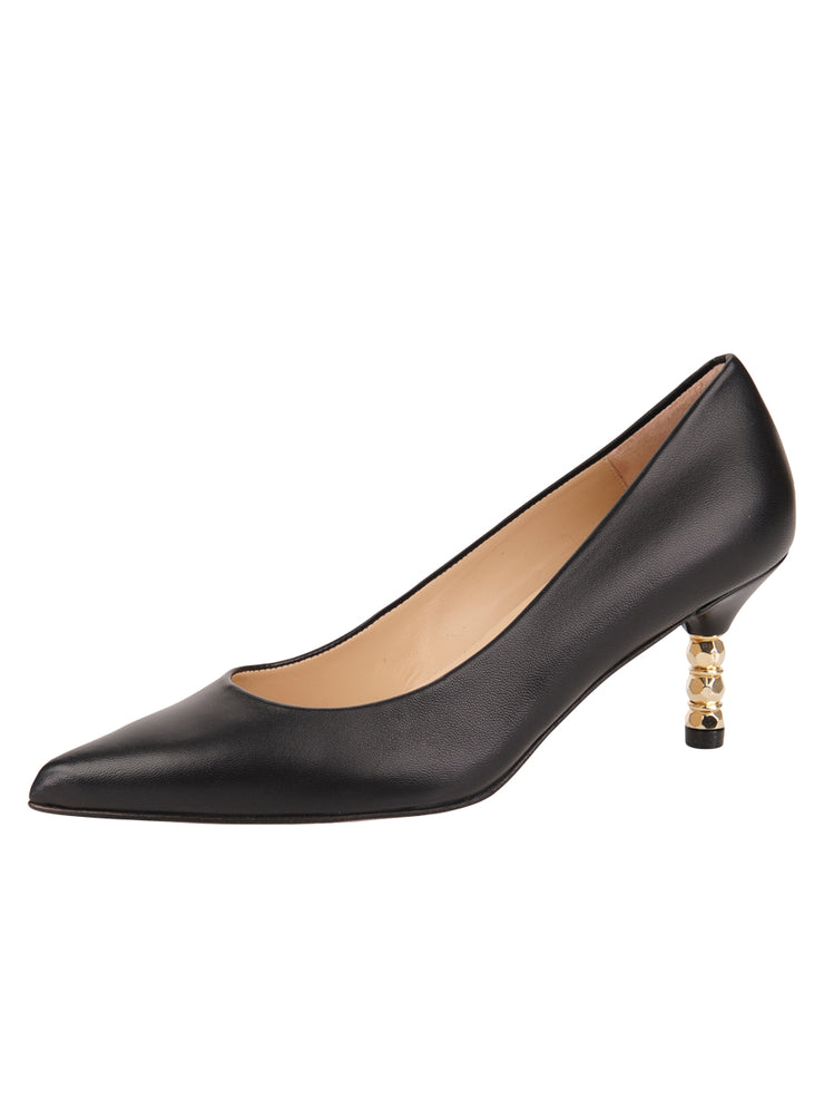 Womens Black Leather Cassandra Pointed Toe Low Heel Pump